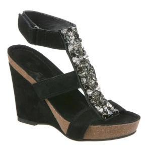 Black jeweled Apepazza Wedge